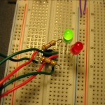 Testing the PWM software on the PIC12F675 before gluing it to the circuit.