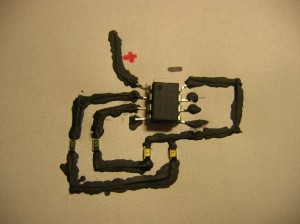 The finished circuit after wires had been added to improve the trace quality.